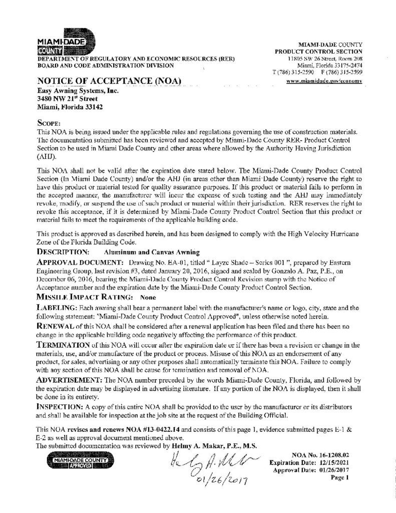 Notice Of Acceptance Noas Eastern Engineering Group